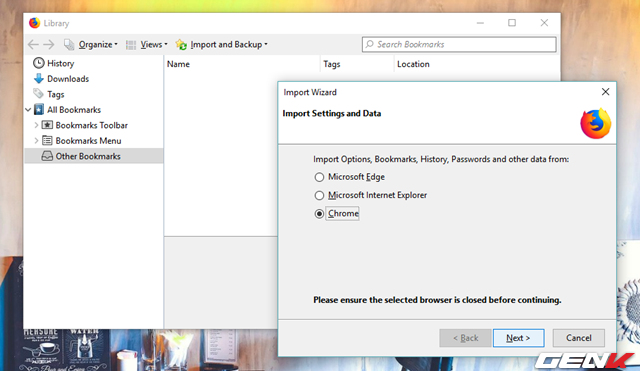 """Bước 3: Đánh dấu vào lựa chọn """"Chrome"""" và nhấn Next."""