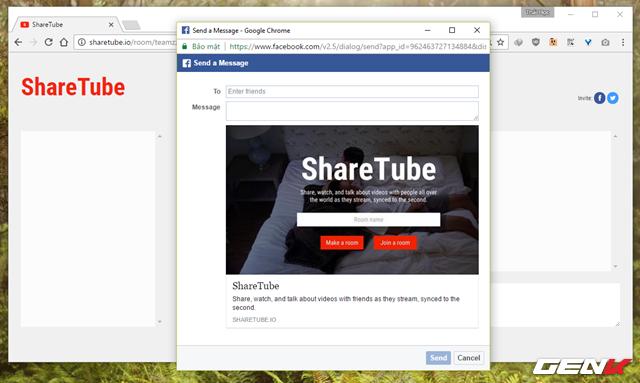 Ở đây ShareTube sẽ cung cấp cho người dùng 2 lựa chọn mời bạn bè tham gia phòng bằng cách thông qua tùy chọn gửi tin nhắn trên Facebook và Twitter.
