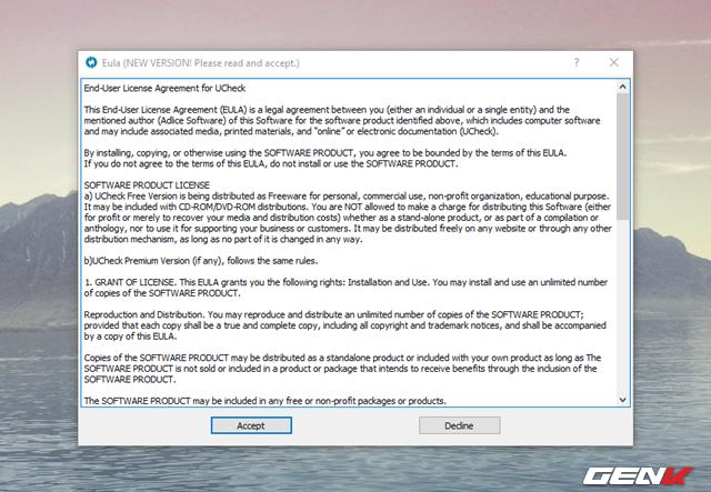 """Khi hoàn thành việc cài đặt, Ucheck sẽ tự khởi động và hiển thị cửa sổ nội dung điều khoản sử dụng. Hãy nhấn """"Accept"""" để xác nhận."""
