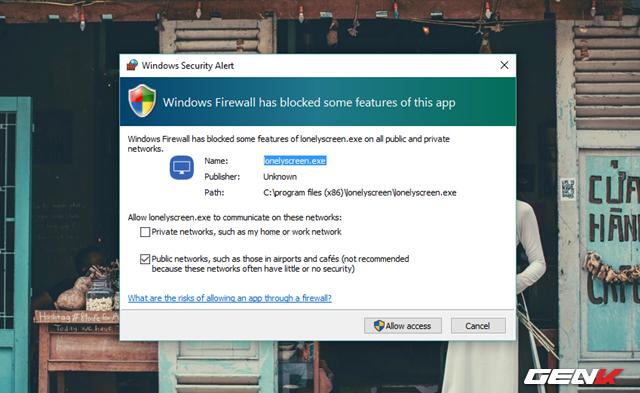 """Khi đã hoàn thành việc cài đặt, LonelyScreen sẽ tự khởi động và khi đó, Windows Firewall sẽ hiển thị yêu cầu bạn cấp phép truy cập cho phần mềm này. Hãy nhấn """"Allow access"""" để xác nhận cho phép."""