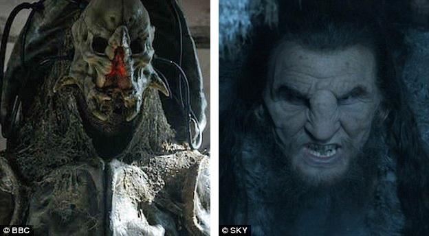 """Fingleton vào vai nhân vật phản diện Fisher King (trái) trong phim truyền hình Anh """"Doctor Who"""" hồi năm 2015. Vai diễn được nhớ tới nhiều nhất của anh là vai người khổng lồ Mag the Mighty (phải) trong loạt phim truyền hình Mỹ """"Game of Thrones"""""""