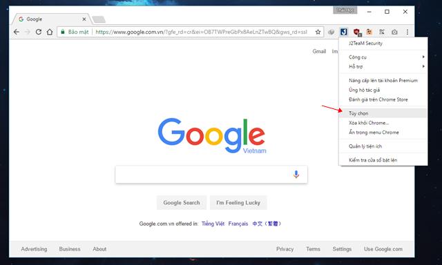 """Sau khi đã hoàn tất việc cài đặt, bạn hãy khởi động lại trình duyệt Google Chrome. Khi đã khởi động lại xong, bạn hãy nhấn phải chuột vào biểu tượng tiện ích J2TeaM Security và chọn """"Tùy chọn""""."""