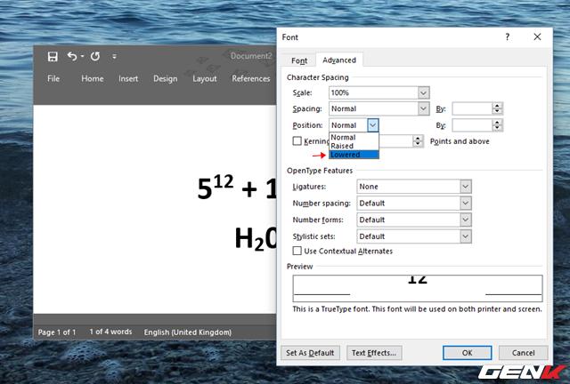 """Tìm đến dòng thiết lập """"Position"""" ở phần """"Character Spacing"""" và chọn """"Lowered""""."""