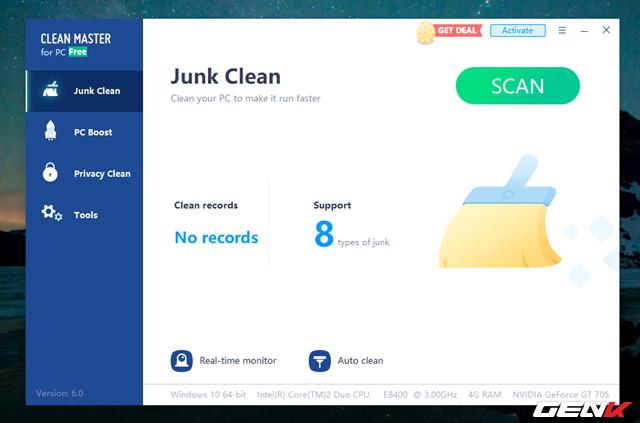 Giao diện chính của Clean Master trên Windows 10 khá đơn giản, với 4 tab chức năng chính bao gồm Junk Clean với các lựa chọn quét và dọn dẹp tự động, cũng như thông tin về phần cứng.