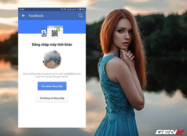 """Bước 4: Giao diện quét mã QR trên smartphone sẽ hiện ra, hãy hướng camera vào cửa sổ QR trên máy tính và chờ vài giây để ứng dụng Facebook nhận diện mã. Khi hoàn tất, tùy chọn phê duyệt đăng nhập sẽ xuất hiện, hãy nhấn """"Cho phép đăng nhập""""."""