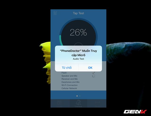 """Trong lúc kiểm tra, Phone Doctor Plus sẽ yêu cầu bạn cho phép truy cập vào một số các chức năng, bạn hãy nhấn """"OK"""" để xác nhận cho phép."""