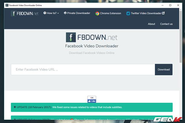 Truy cập vào website Fbdown.