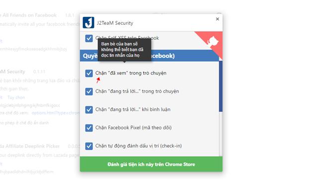 """Cửa sổ thiết lập xuất hiện, bạn hãy di chuyển đến nhóm thiết lập """"Quyền Riêng Tư (Trên Facebook)"""" và đánh dấu vào lựa chọn """"Chặn đã xem trong trò chuyện"""". Thay đổi sẽ có hiệu lực ngay lập tức."""
