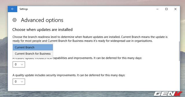 """Ở đây, bạn sẽ có 3 lựa chọn. Bao gồm """"Choose the branch readiness level to determine when feature updates are installed"""" cho phép người dùng chọn giữa Current Branch (Bản cập nhật dành cho hầu hết người dùng) và Current Branch for Business (Bản cập nhật đã sẵn sàng cho việc sử dụng rộng rãi trong các doanh nghiệp)."""