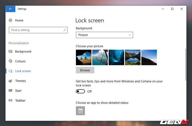 Tiếp theo, hãy thay đổi lựa chọn trong Background thành Picture hoặc Slideshow. Khi đó, bạn sẽ thấy bên dưới xuất hiện lựa chọn Get fun facts, tips, and more from Windows and Cortana on your lock screen, hãy gạt sang OFF để vô hiệu hóa lựa chọn này là xong.