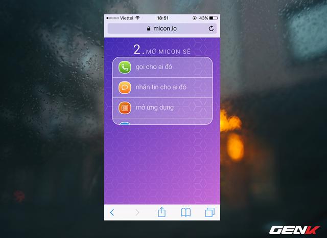 """Sang bước tiếp theo, Micon sẽ cung cấp cho người dùng các lựa chọn tác vụ để khởi chạy thông qua icon mà chúng ta đang tạo. Ở đây, ta sẽ chọn """"Mở ứng dụng"""" để làm ví dụ."""