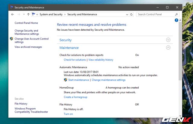 """Hãy chú ý đến phần """"Automatic Maintenance"""". Đây là khu vực thiết lập bảo trì cho hệ thống. Ở đây, nếu nhấp vào tùy chọn """"Start maintenance"""", Windows sẽ tiến hành công việc bảo trì hệ thống ngay lập tức. Trường hợp bạn muốn thiết lập lịch cho tác vụ này, hãy nhấp vào """"Change maintenance settings""""."""