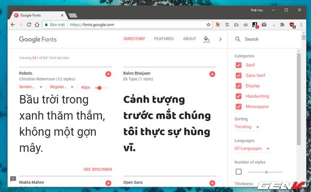 Nếu chưa ưng ý được font nào, bạn có thể truy cập trang cung cấp font miễn phí của Google để tìm, tải và cài đặt font mình thích.