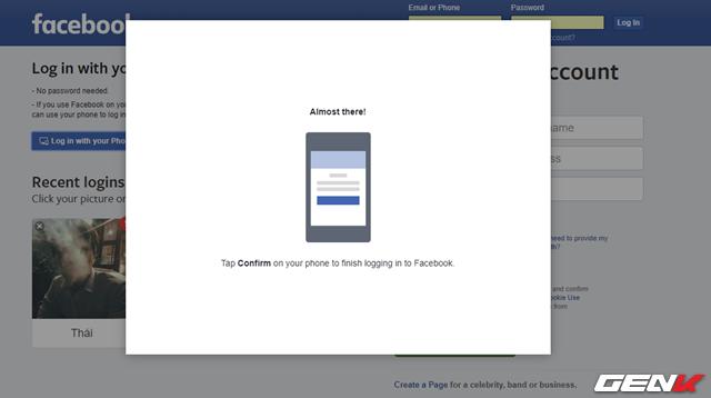 Chờ vài giây để Facebook nền web nhận được xác nhận từ ứng dụng và hoàn tất việc đăng nhập.