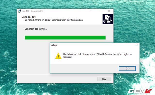 Và yêu cầu để Windows có thể khởi chạy CalendarDC là hệ điều hành phải được cài đặt sẳn phiên bản .Net Framework phiên bản 2.0 trở lên. Nếu Windows chưa có, quá trình cài đặt vẫn diễn ra bình thường và bạn có thể cài đặt sau đó vẫn được.