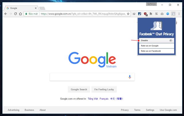 """Sau khi cài đặt xong Facebook™ Chat Privacy, bạn hãy nhấp vào biểu tượng tiện ích mở rộng và nhấn vào lựa chọn """"Disable"""" ở lựa chọn đầu tiên là xong."""