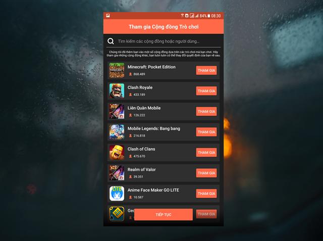 """Bước tiếp theo, Omlet Aracde sẽ hiển thị danh sách các cộng đồng đang chơi các tựa game phổ biến trên di dộng để bạn tham gia. Nếu thấy được cộng đồng Game yêu thích của bạn, hãy nhấn """"Tham gia"""", sau đó hãy nhấn """"Tiếp tục""""."""