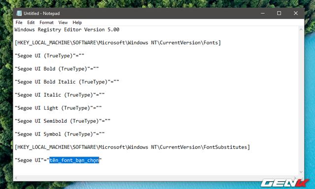 Khi đã chọn xong font mình cần, bạn hãy mở ứng dụng Notepad của Windows lên và nhập vào đoạn mã này.