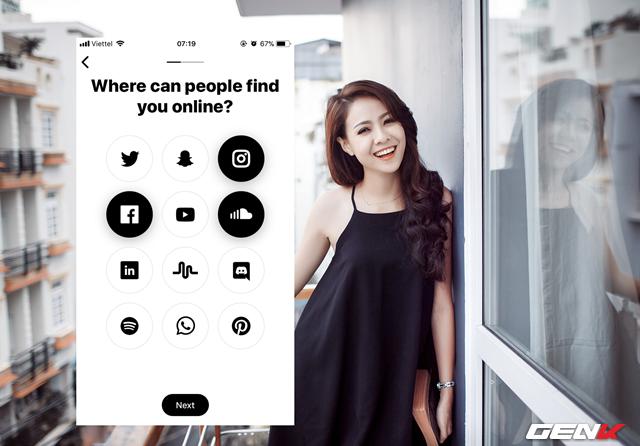 Bước 6: Nhập các thông tin liên lạc của bạn qua các dịch vụ mạng xã hội thông dụng.