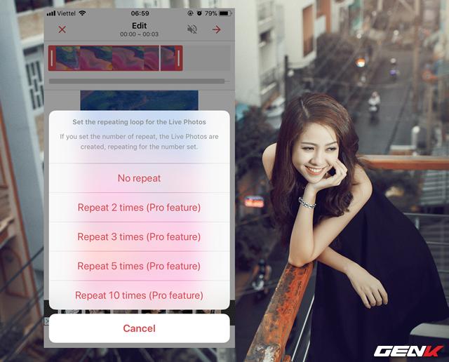 Bước 6: Chọn số lần lập lại nội dung video Live Wallpaper bạn muốn.