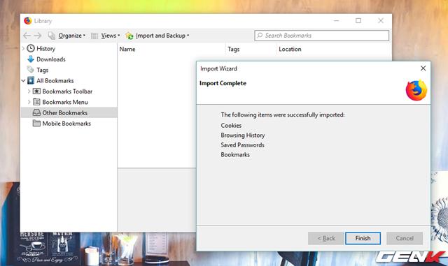 Bước 6: Khi quá trình hoàn tất, bạn hãy tiến hành sắp xếp lại menu Bookmarks trong Library sau cho ưng ý là xong.