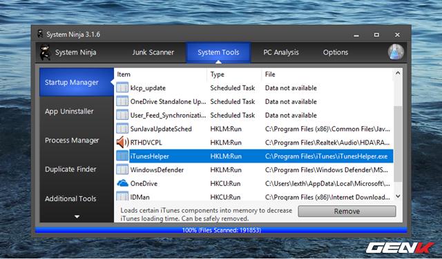 """Chuyển qua tab """"System Tools"""", bạn sẽ được cung cấp một số các công cụ như quản lí các tác vụ khởi động cùng Windows, trình gỡ bỏ cài đặt phần mềm, quản lí các tác vụ ngầm, tìm và xóa tập tin trùng lập,…"""