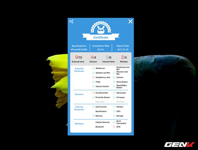 Sau khi quá trình kiểm tra kết thúc, Phone Doctor Plus sẽ hiển thị một báo cáo đầy đủ các thành phần đã check cùng điểm đánh giá để người dùng có được một các nhìn chi tiết nhất về thiết bị.