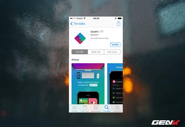 Công việc tiếp theo bạn cần làm là cầm chiếc iPhone hay iPad của mình lên, vào App Strore, tìm và tải về ứng dụng Quadro.