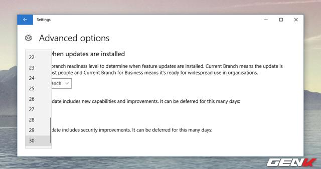 """Lựa chọn """"A quality update includes security improvements"""" cho phép người dùng tạm hoãn việc cài đặt các bản cập nhật chất lượng (quality update) lên đến 30 ngày. Bạn có thể sử dụng tùy chọn này khi có nhiều phản hồi không tốt về một bản cập nhật nhất định nào đó là nguyên nhân gây ra các vấn đề cho Windows 10."""