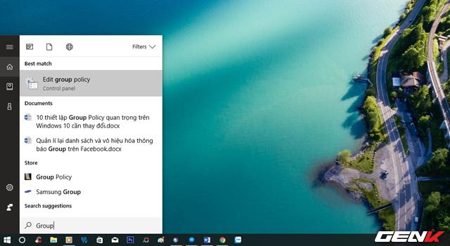 """Khởi động Group Policy thông qua từ khóa """"Group"""" trong Cortana."""