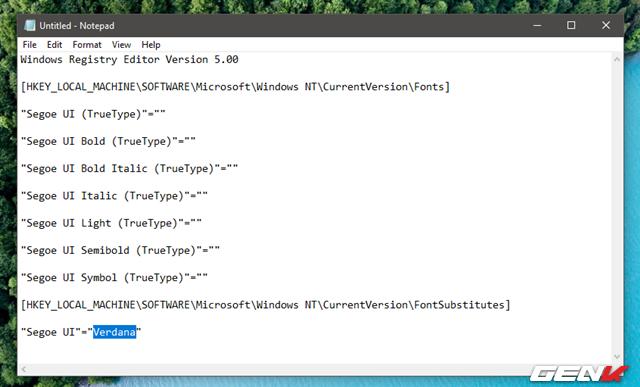 """Sau đó thay thế đoạn """"tên_font_bạn_chọn"""" bằng tên của font mà bạn ưng ý trong thư mục Fonts ở trên. Ví dụ như ở đây """"Verdana"""" là font bạn chọn thì đoạn thay thế sẽ được sửa thành như trên."""
