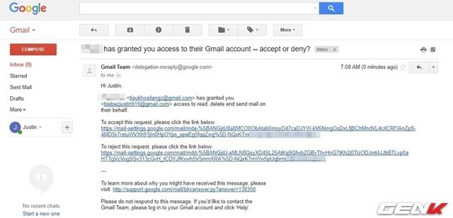 Bước 6: Email với URL xác nhận sẽ được gửi đến địa chỉ email mà bạn cấp phép ở trên. Và người được cấp phép phải nhấp vào URL đó để xác nhận. Thời gian chờ xác nhận sẽ kéo dài đến 07 ngày, nếu vượt quá thời gian này, bạn cần phải thực hiện lại các bước từ đầu.