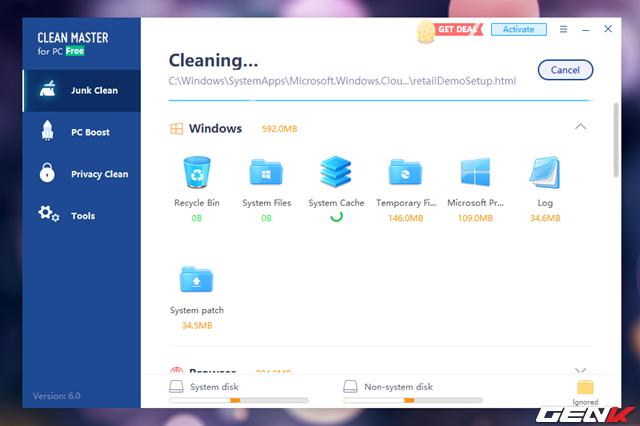 Khi đã hoàn toàn an tâm vì các dữ liệu rác được phát hiện bởi Clean Master, bạn có thể nhấn Clean để cho phép Clean Master dọn dẹp chúng khỏi ổ cứng.