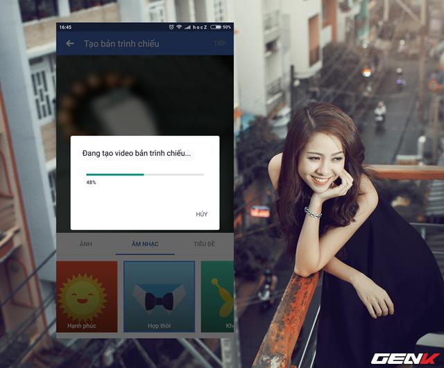 Bước 6: Khi mọi thứ đã xong, hãy nhấn TIẾP để Facebook tiến hành khởi tạo video trình chiếu với các lựa chọn từ bạn.