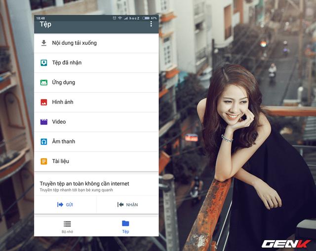 Ngoài ra, Google Files Go còn cho phép người dùng có thể truyền và nhận dữ liệu từ bạn bè xung quanh thông qua tính năng Truyền tệp an toàn không cần internet.