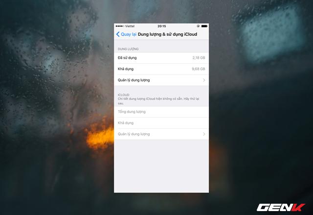 Truy cập vào Cài đặt -> Cài đặt chung -> Dung lượng & sử dụng iCloud.