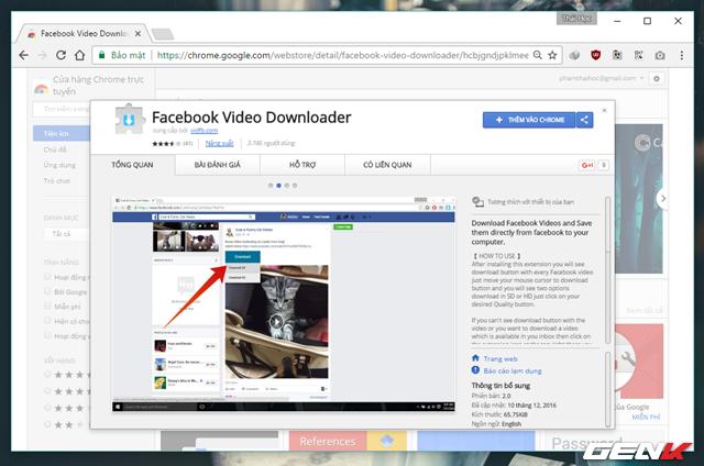 Hãy sử dụng trình duyệt Google Chrome và truy cập vào địa chỉ này cài đặt tiện ích mở rộng Facbook Video Downloader.