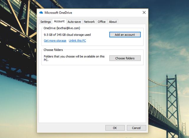 """Hộp thoại thiết lập xuất hiện. Người dùng có thể thêm vào ứng dụng nhiều tài khoản Microsoft khác để được nhiều không gian lưu trữ và đồng bộ hơn nếu muốn bằng cách nhấp vào lựa chọn """"Add an account"""" ở tab Account."""