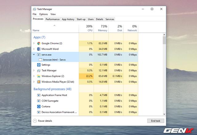 """Mặc dù vậy, có thể do thừa hưởng những kỹ thuật xây dựng ở Firefox nên tốc độ duyệt web của Mozilla Servo Developer Preview khá là nhanh. Tuy nhiên, mức độ """"ăn RAM"""" của nó cũng """"không phải dạng vừa đâu""""."""