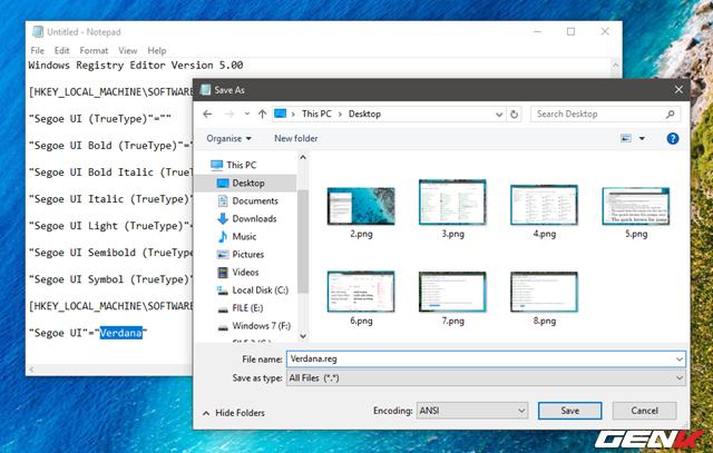 """Khi đã sửa xong, bạn hãy tiến hành lưu lại bằng cách nhấp vào File > Save as. Cửa sổ """"Save as"""" xuất hiện, hãy chọn """"All Files"""" ở dòng Save as type. Còn dòng File name bạn hãy đặt tên nào đó bất kỳ và thêm vào định dạng cho nó là """".reg""""."""