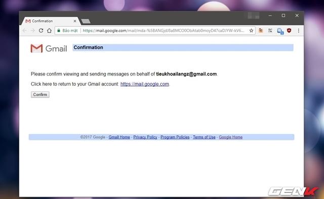 """Sau khi nhấp vào URL đính kèm, người được ủy quyền phải nhấp tiếp vào """"Confirm""""."""