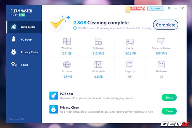 Hoàn tất việc dọn dẹp, Clean Master sẽ hiển thị tổng dung lượng trong mà bạn lấy lại được.