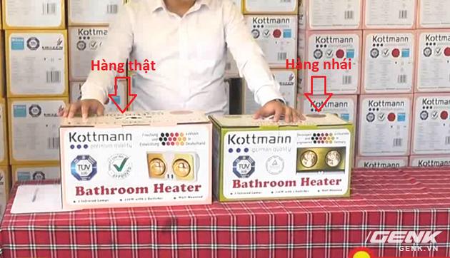 Chiếc đèn sưởi của hãng Kottmann (nước Đức) bị làm nhái