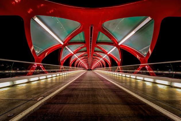 Một tác phẩm nữa của KTS Santiago Calatrava, đó là cây cầu Peace ở Calgary.
