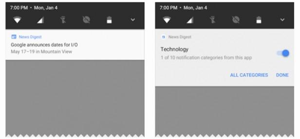 Các kênh thông báo trong Android O của Google.