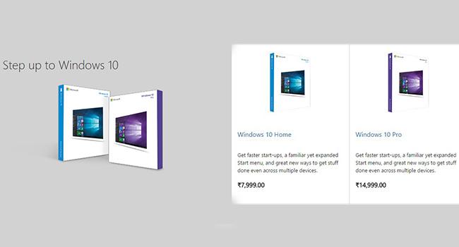 Các mức giá nâng cấp lên Windows 10 tại Ấn Độ.
