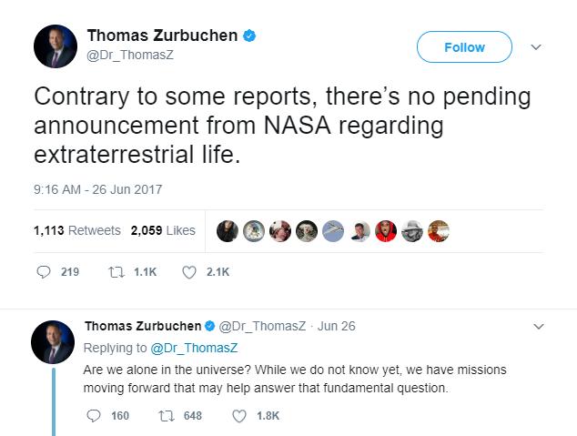 Trái ngược với một số báo cáo, không có công bố nào từ NASA về vấn đề sự sống ngoài hành tinh. Chúng ta có cô đơn trong vũ trụ này? Hiện tại thì ta chưa biết, nhưng ta đang có những sứ mệnh nghiên cứu nhằm trả lời câu hỏi quan trọng ấy.