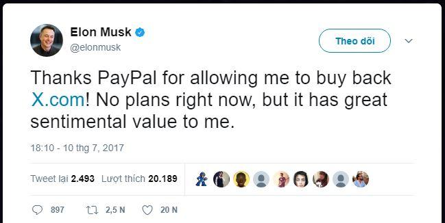 Elon Musk xác nhận mua lại tên miền X.com trên Twitter