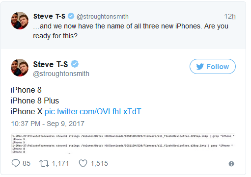 Tweet về tên gọi các thiết bị iPhone sắp ra mắt.