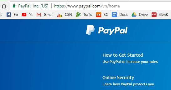 Bạn nên luôn để ý tới hình chiếc khóa màu xanh và cụm HTTPS:// bên trái thanh địa chỉ.